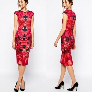 Ted Baker Naias dress Jungle Orchid red floral 2